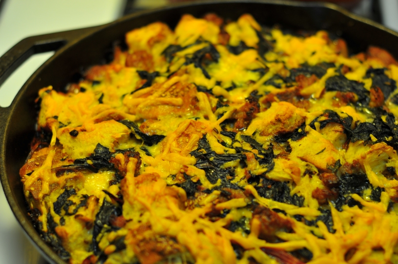 sausage and chard bread pudding